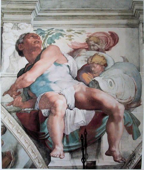 The Prophet Jonah, as depicted by Michelangelo in גת חפר -the Sistine Chapel