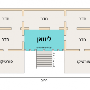 ציור אדריכלי של בית לבנטיני טיפוסי, עם שטח ליוואן בתכלת יוצר:Itzuvit