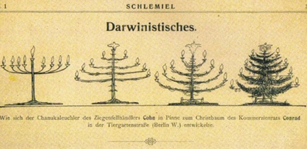"""Caricature from the Jewish magazine Schlemiel (1904): """"How the Hanukkale chandelier of the goat-skin trader Cohn developed in Tiller to the Christmas tree of the Kommerzienrat Conrad in Tiergartenstraße (Berlin W.)."""""""