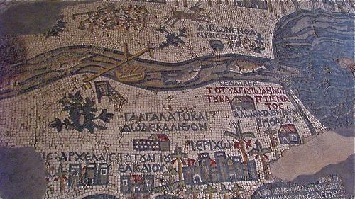 The late-antique oasis city Jericho (below center) in its surroundings ( mosaic map of Madaba ). Photo:Seetheholyland.net