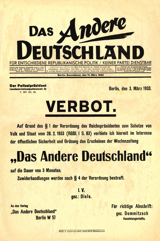 Das Andere Deutschland's final issue, announcing its own prohibition (Verbot) by the police authorities on the basis of the Reichstag fire decree