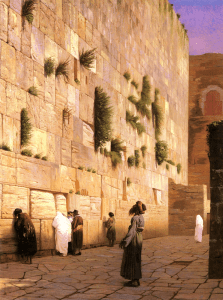Jews at the Wailing Wall in Jerusalem during the Ottoman period, 1867