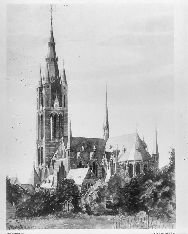 St. Vitus Church (architect Pierre Cuypers, construction Karel de Bazel), in a watercolor by K.P.C. de Bazel Rijksdienst voor het Cultureel Erfgoed