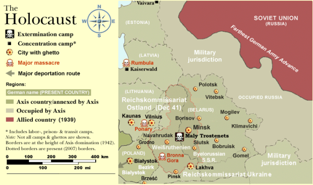 Holocaust in Reichskommissariat Ostland, which included Soviet Belarus WW2-Holocaust-Europe.png WW2-Holocaust-ROstland.PNG יוצר WW2-Holocaust-Europe.png: User:Dna-Dennis
