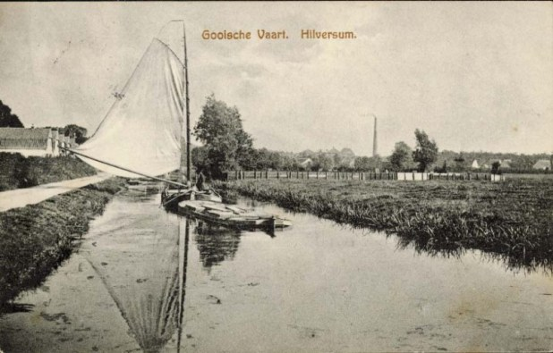 Postcard of the Gooische Vaart in Hilversum with the jewish cemetery, ca. 1914