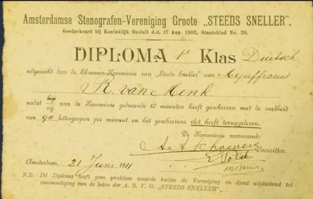 ריינה ון מנק-וינברג למדה להיות סטנוגרפית. הדוד היה סטנוגרף בפרלמנט ההולנדי.