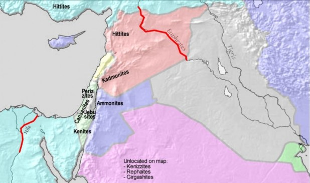 Greater Israel as defined in Genesis 15:18-21 Genesis 15:18-21 (KJV): In the same day the LORD made a covenant with Abram, saying, Unto thy seed have I given this land, from the river of Egypt unto the great river, the river Euphrates: The Kenites, and the Kenizzites, and the Kadmonites, And the Hittites, and the Perizzites, and the Rephaims, And the Amorites, and the Canaanites, and the Girgashites, and the Jebusites. The Biblical Amorites are considered synonymous with the Canaanites and occupied the same land. Interpretation My first reference was The International Standard Bible Encyclopedia Online. I also consulted the Jewish Encyclopedia, the Bible Wiki and, of course, Google and Google Images. Comment This is a JPEG copy of a 1109 x 656 pixel Corel PhotoPaint file. This map is very vague, to reflect the vagueness of this passage. The exact locations of many of these sites is lost forever. This map is therefore the result of speculations by many experts (not me). If you feel strongly about some aspect of it, contact me with references. To preserve the quality of the image, future edits should be done on the original file. This map is to complement my previous map of the Land of Israel as defined in Numbers 34:1-12 and Ezekiel 47:13-20. The resemblance between this map and the map of the Kingdom of Israel at David's death is striking, but the origin and time of these two maps is very different. This map is, heavens forbid, the result of Original Research by myself, and is also an image. Original research is not allowed in Wikipedia, but original images are. The survival of this map to the scrutiny of the NOR police therefore depends on this רישיון The relief image in the background is from a map from the CIA, which is public domain in the U.S. :