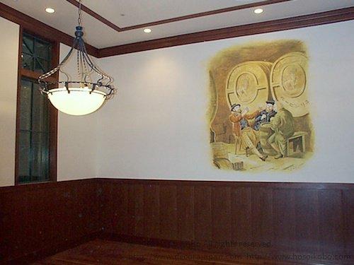 スケッチ調のポイント壁画