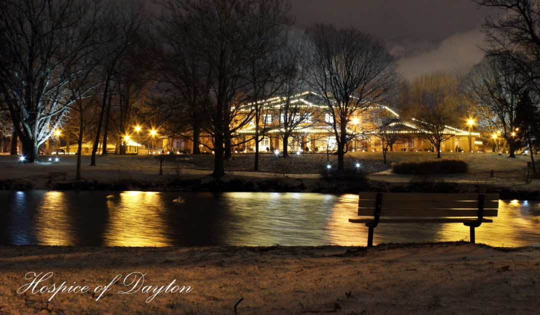 The campus all lit up during the Holiday's