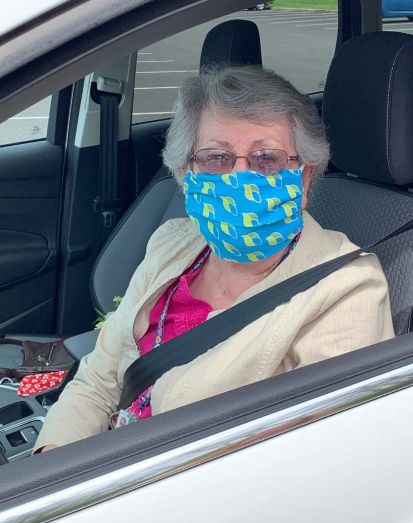 Anne McCann sitting in her car