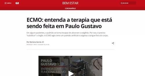 Dra. Rafaella Gato fala sobre Ecmo em matéria do portal G1