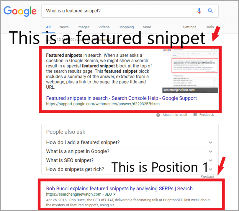 Old Google featured snippet screenshot !