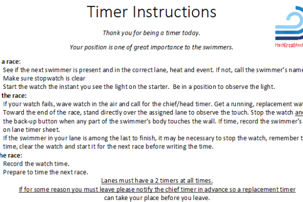 Help swim meet timers do great! Give them instructions.
