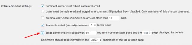 Membagi komentar menjadi beberapa halaman