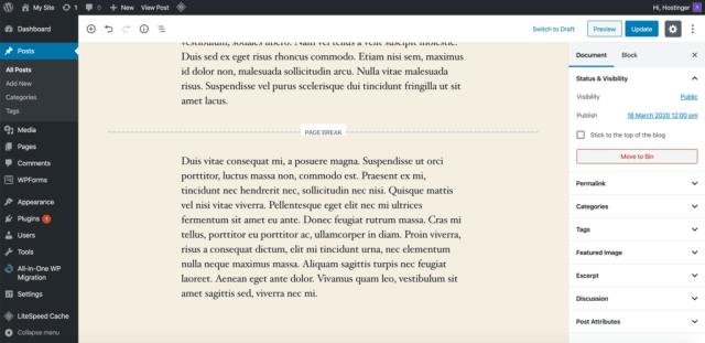 Page break Gutenberg