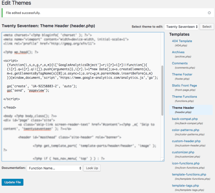 google analytics tracking code added to header php