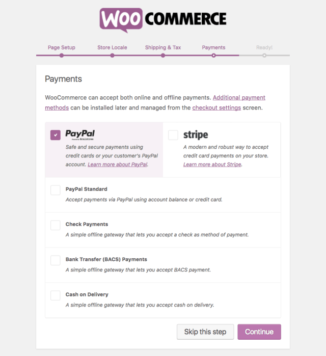 woocommerce payments page