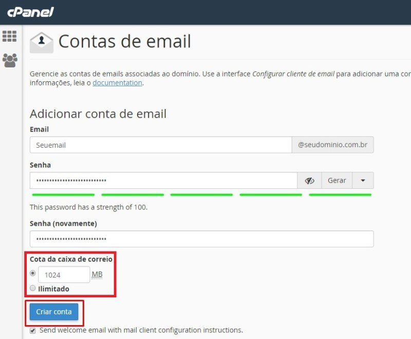 configurando email na opção contas de email no cpanel