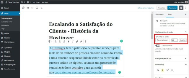 editar bloco no wordpress