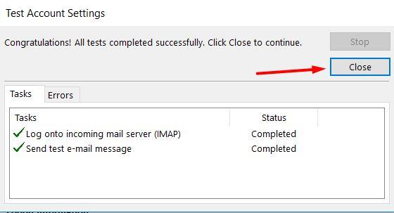 Tela de configurações de conta teste do Outlook 2013