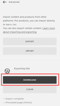 Downloading the export file