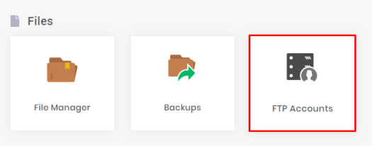 This image shows you the FTP Accounts menu in hPanel