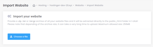 This image shows you the Import Website feature in hPanel