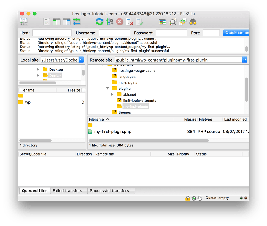 WordPress Plugin Tutorial - Creating WordPress Plugin Folder with FTP