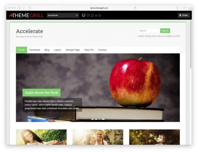Accelerate theme demo page.