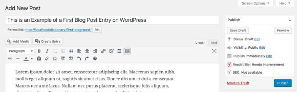 Mempublikasikan post baru di WordPress
