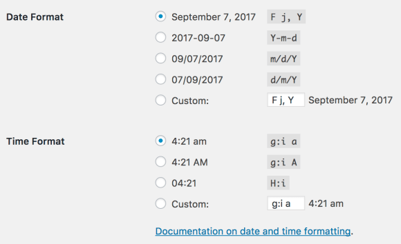 Pengaturan waktu dan tanggal WordPress