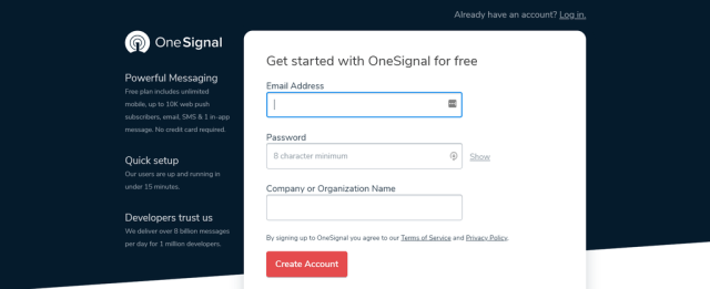Screenshot of the OneSignal sign up form