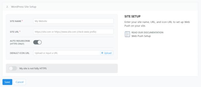 Screenshot of OneSignal's site setup form