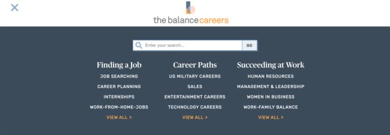 La page d'accueil de Balance Careers.