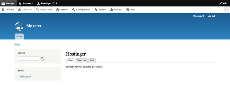 The main view of Drupal admin panel