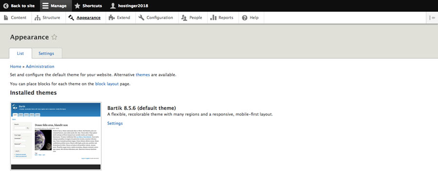 Theme menu in Drupal dashboard