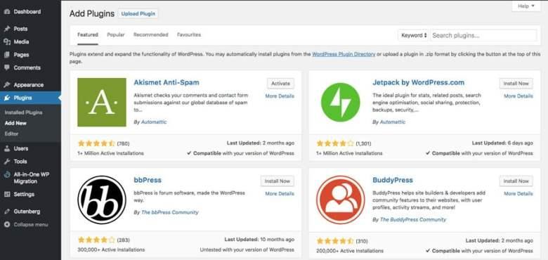 Directory dei plugin di WordPress