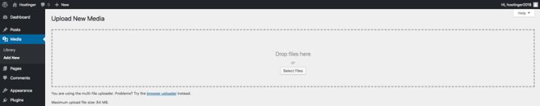 Caricamento di nuovi file multimediali tramite la dashboard di WordPress