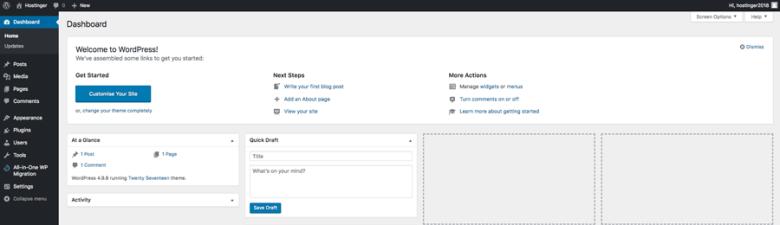 La visualizzazione principale del dashboard in WordPress