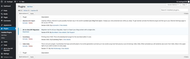 Verifica del plug-in installato nella dashboard di WordPress