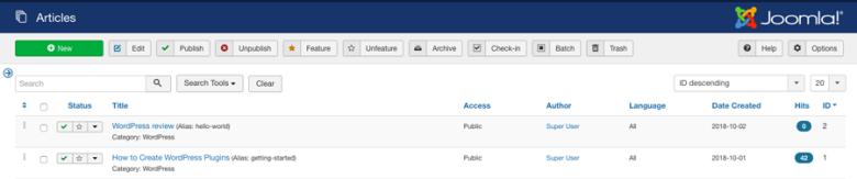 Sezione di gestione degli articoli nella dashboard di Joomla