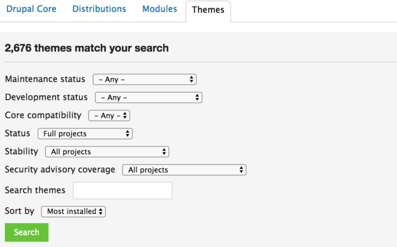 Scegliere il design di un sito Web nel repository ufficiale del tema Drupal