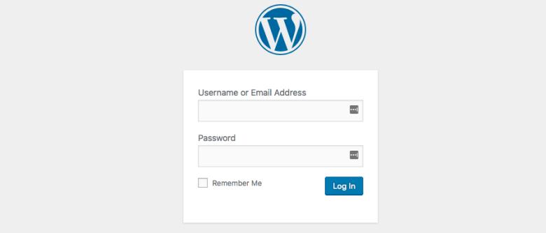 La schermata di accesso della dashboard di WordPress
