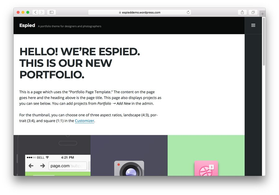 Espied WordPress portfolio theme demo