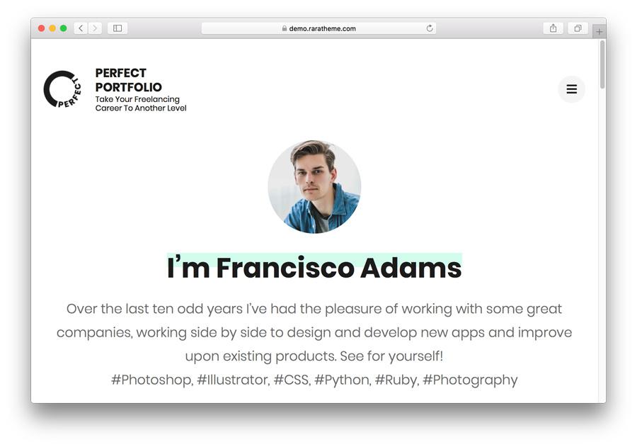 Perfect Portfolio Home Page