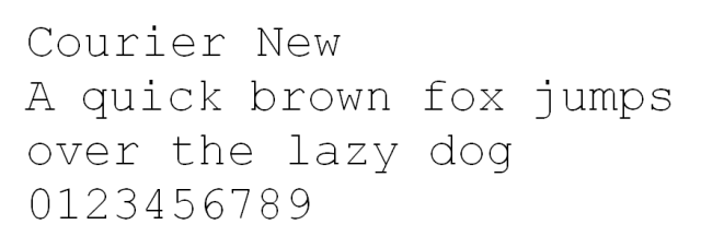 Courier New HTML font untuk website