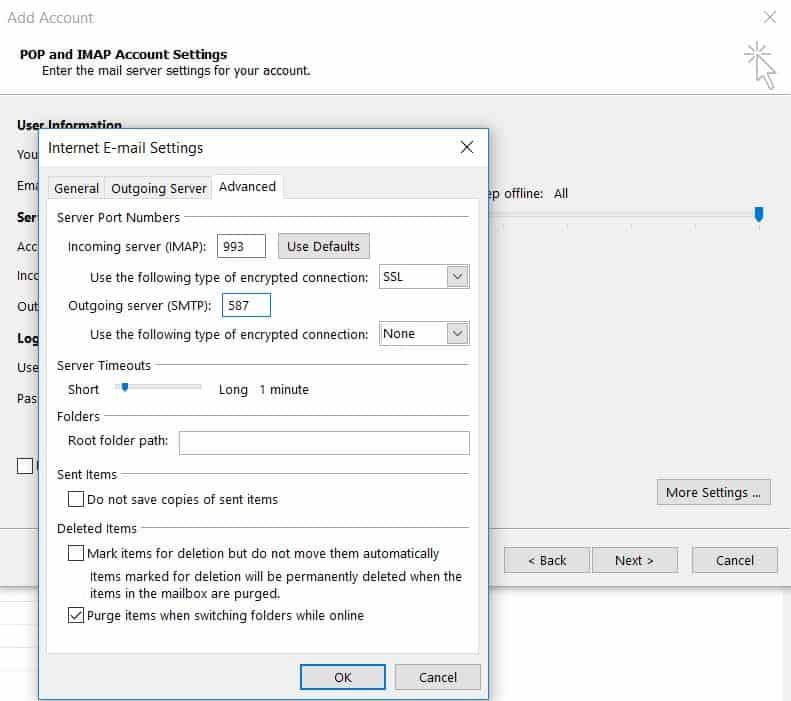 Configuración de números de puerto y servidor en Microsoft Outlook 2013.