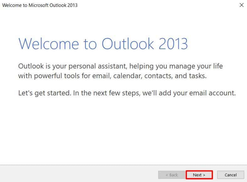 Pantalla de bienvenida de Microsoft Outlook 2013.