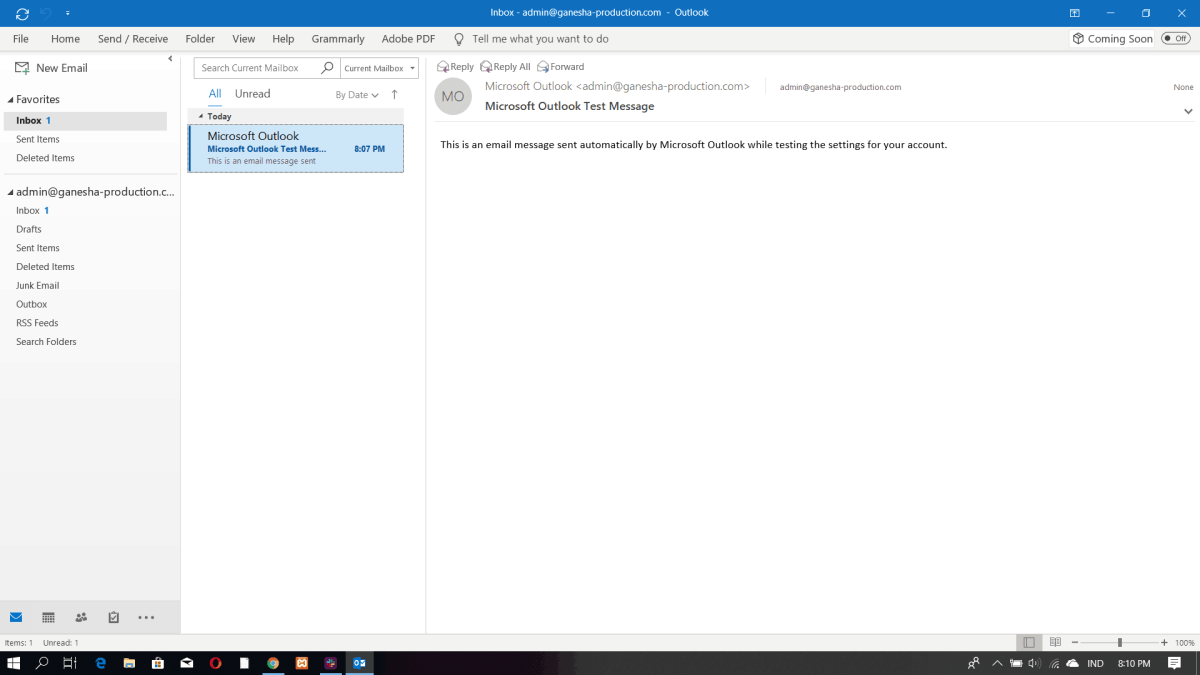 Interfaz de Microsoft Outlook 2016