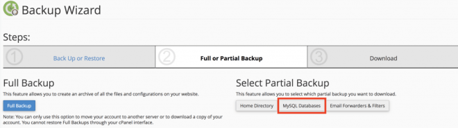partial backup in cpanel